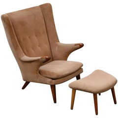 'Papa Bear' Wingback Armchair and Ottoman by Svend Skipper, circa 1960