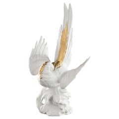 Papagena in Ceramic, White with Gold 24-Karat Feather, Italy