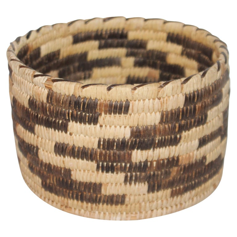 Papago Indian Basket in Geometric Pattern For Sale
