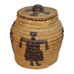 Papago Indian Pictorial Lidded Basket