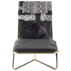 Papeete Chaise Lounge in Leather with Metal Frame by Roberto Cavalli