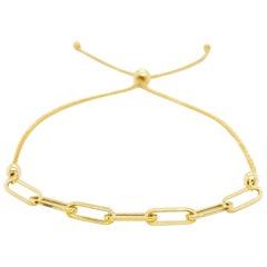 Paper Clip Bracelet, Bolo Bracelet, 14 Karat Yellow Gold Woman's Bracelet