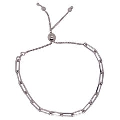 Paper Clip Bracelet in Sterling Silver with Adjustable Bolo Clasp, Mixed Metals