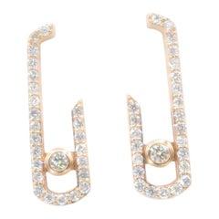 Paper Clip Diamond Pavé Rose Gold Pierced Earrings
