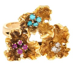 Paper Flowers Gemstone Ring Vintage 18 Karat Yellow Gold Ruby Turquoise Jewelry