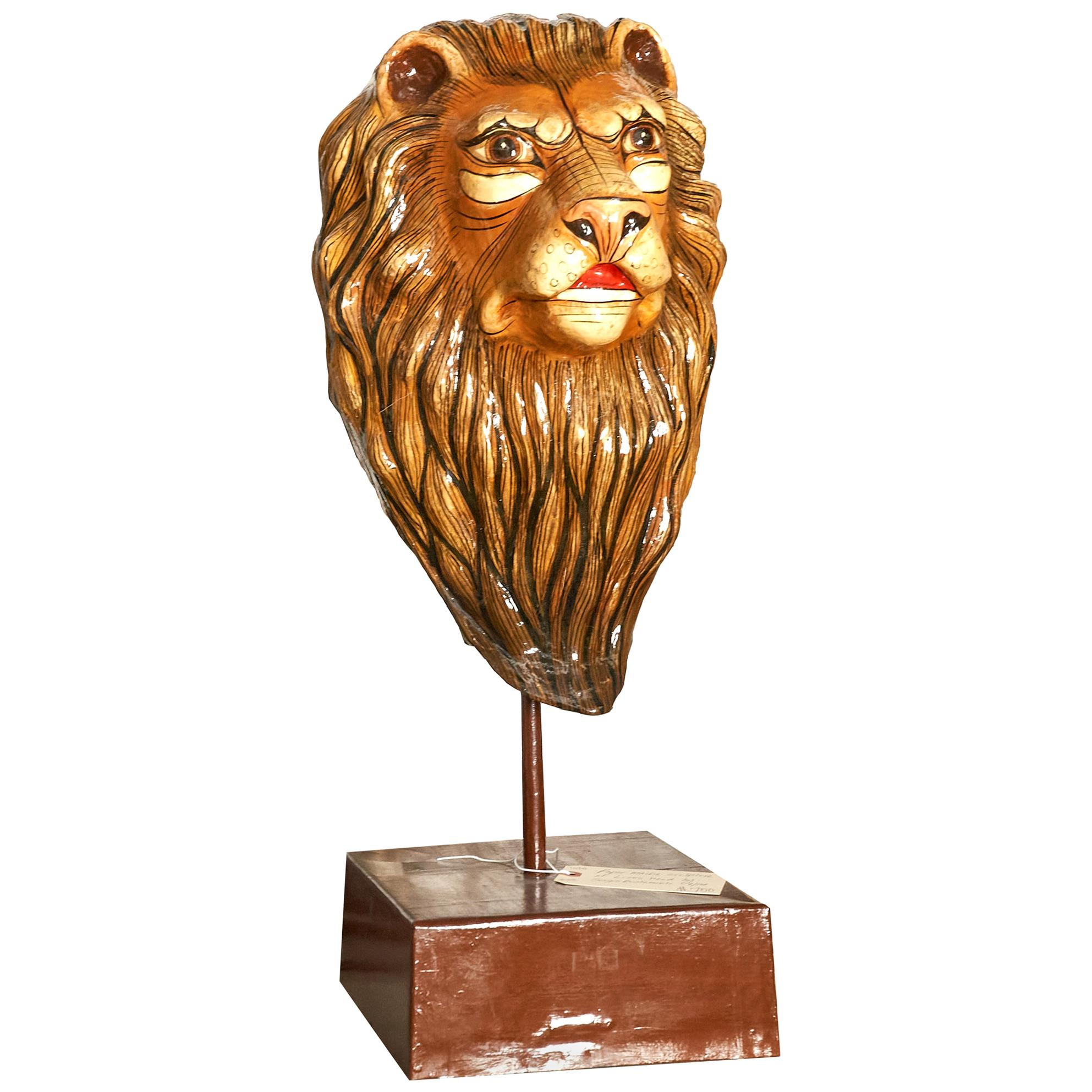 Papier Mâché Lion Head Signed by Sergio Bustamante, Mexico, 9/100
