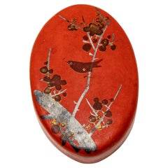 Paper Mâché Red Pillbox with Bird Motif