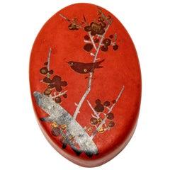 Paper Mâché Red Pillbox with Bird Motif