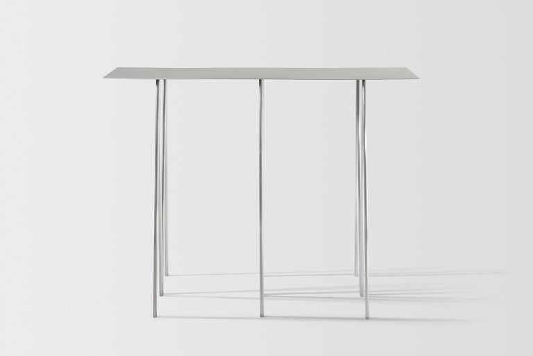 Paper Table L in Polished Steel Finish by UMÉ Studio In New Condition For Sale In Oakland, CA