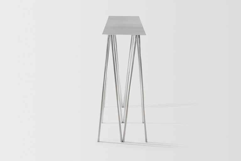 Contemporary Paper Table L in Polished Steel Finish by UMÉ Studio For Sale
