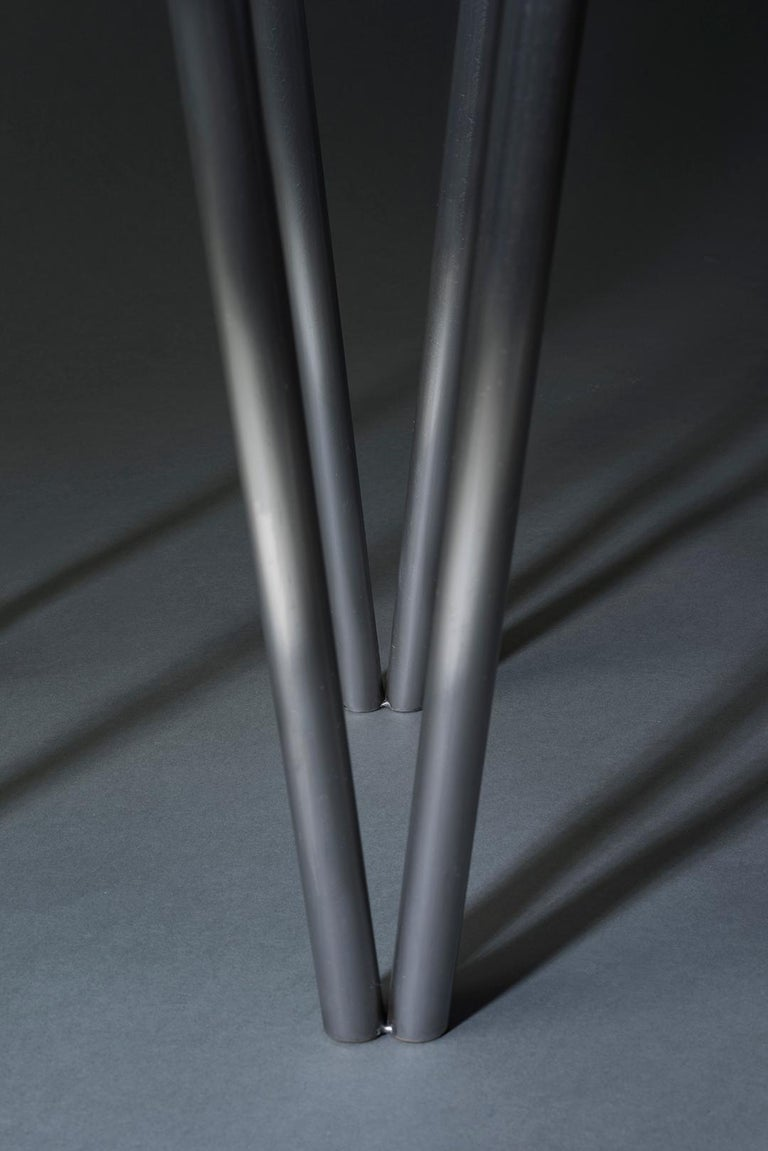 Paper Table L in Polished Steel Finish by UMÉ Studio For Sale 2