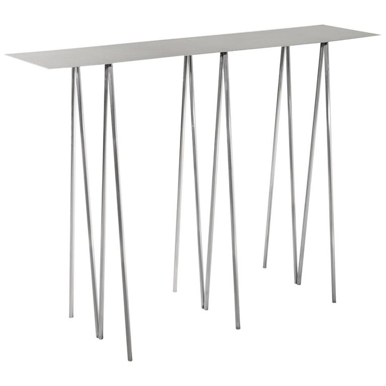 Paper Table L in Polished Steel Finish by UMÉ Studio For Sale