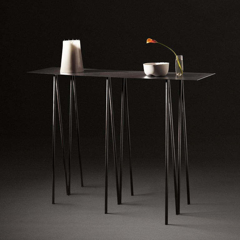 Minimalist Paper Table L in Stained Black Steel Finish by UMÉ Studio For Sale