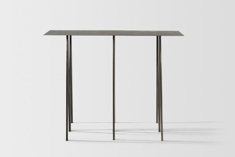 American Paper Table L in Stained Black Steel Finish by UMÉ Studio For Sale