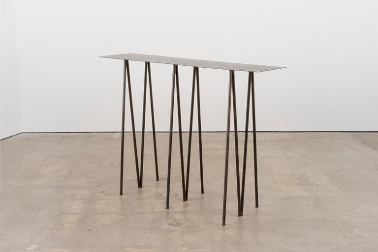 Metalwork Paper Table L in Stained Black Steel Finish by UMÉ Studio For Sale