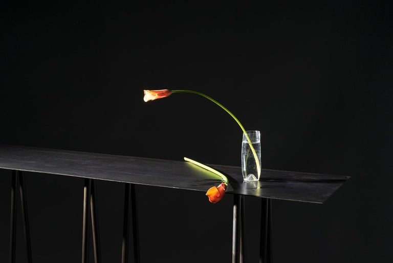 Paper Table L in Stained Black Steel Finish by UMÉ Studio For Sale 2
