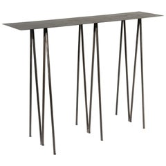 Paper Table L, Console Table, in Stained Black Steel Finish by UMÉ Studio