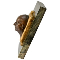 Paper Weight with a Patinated Bronze of Napoleons Death Mask on a Green Marble