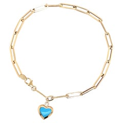 Paperclip Bracelet with Blue Stone Mini Heart Gold Charm