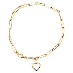 Paperclip Bracelet with White Mother of Pearl Mini Heart Gold Charm