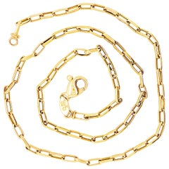 Paperclip Chain Necklace 14 Karat Yellow Gold Paperclip Link Chain