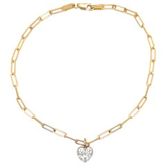 Paperclip Diamond Heart Link Bracelet 0.48 Carat 14 Karat Yellow Gold