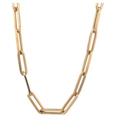 Paperclip Link Chain Necklace 14 Karat Yellow Gold