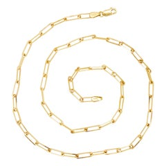 Paperclip Link Chain Necklace in 14 Karat Yellow Gold, 14 Karat Paperclip