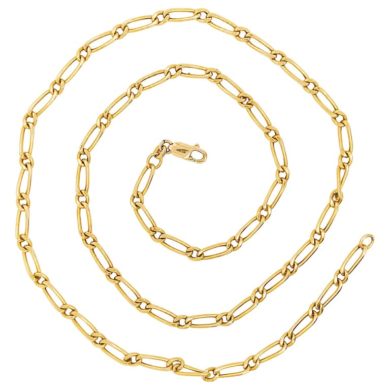 Paperclip Link Figaro Necklace with Large Clasp, 14 Karat Gold, circa 1995