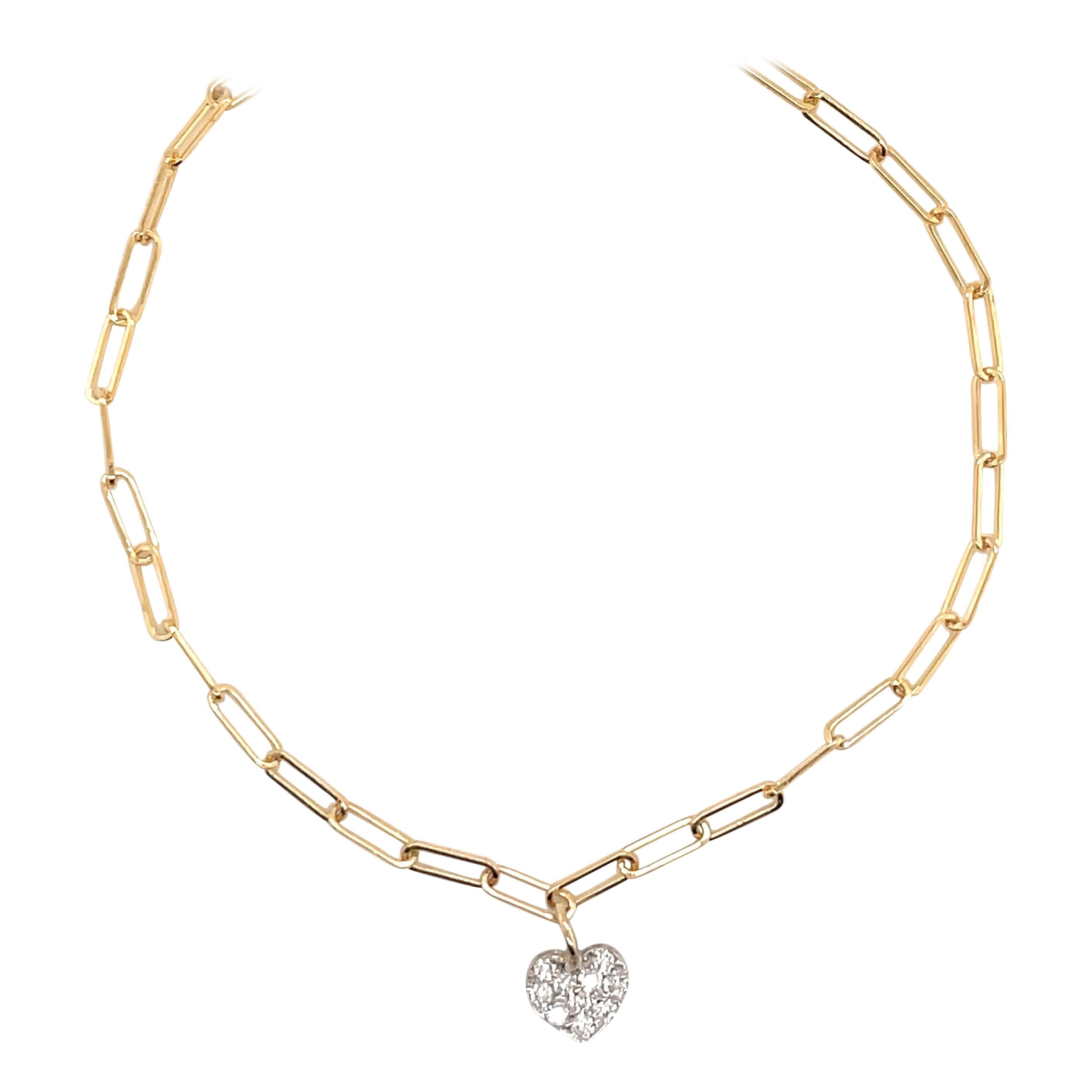 Paperlink Diamond Heart Bracelet 0.26 Carats 14 Karat Yellow Gold
