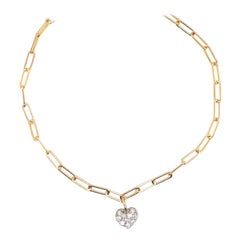 Paperlink Diamond Heart Bracelet 0.26 Carats 14 Karat Yellow Gold