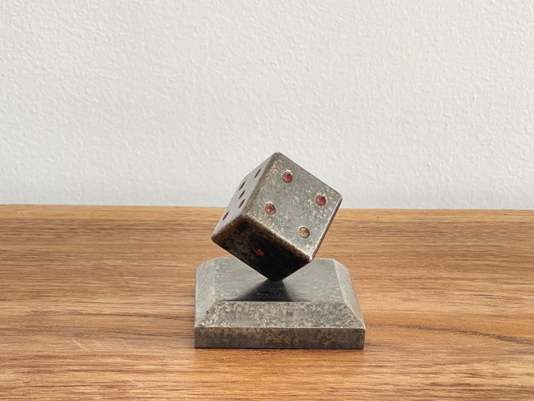 Wrought iron paperweight in shape of dice on square base with gunmetal patina.  Heavy bronze. EdgarBrandt circa 1930's - Famous French metal worker.
