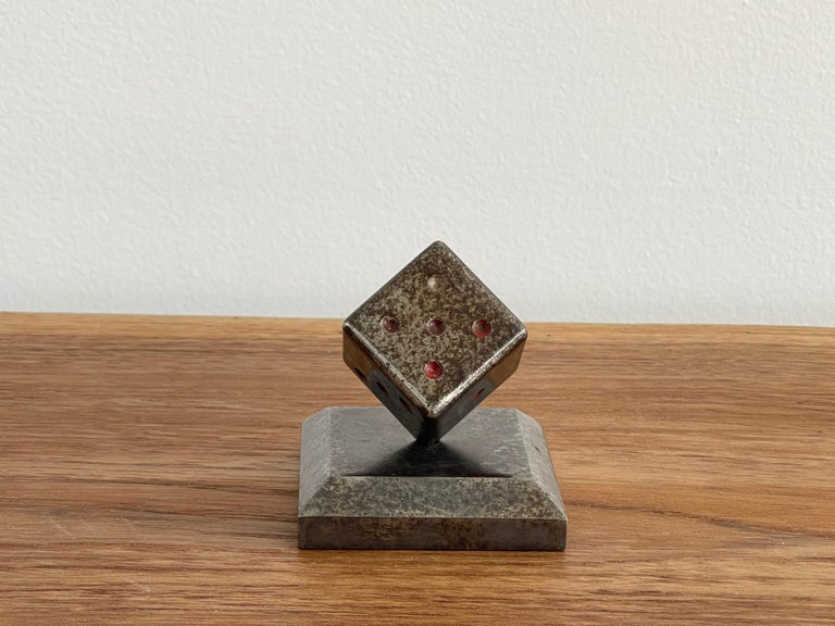 French Paperweight Dice Sculpture by Edgar Brandt For Sale