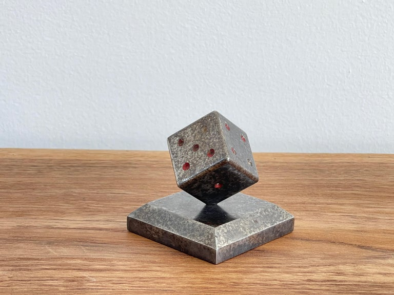 Paperweight Dice Sculpture by Edgar Brandt In Good Condition For Sale In Los Angeles, CA
