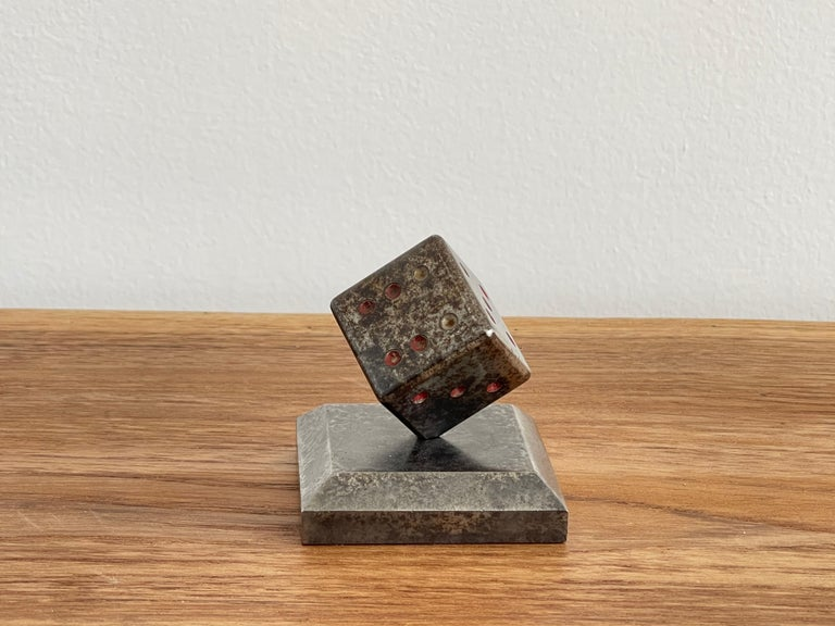 Mid-20th Century Paperweight Dice Sculpture by Edgar Brandt For Sale