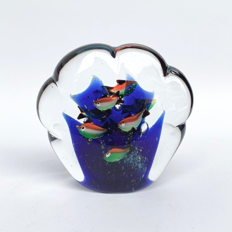 Paperweight Sculpture for Aquarium in White, Blue, Red and Green Murano Glass For Sale 5