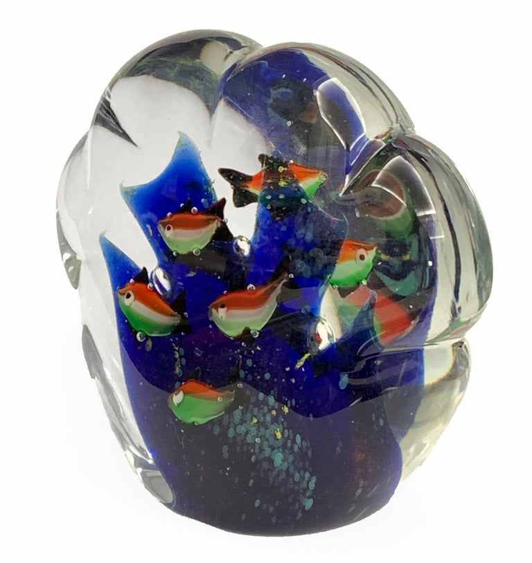 Mid-Century Modern Paperweight Sculpture for Aquarium in White, Blue, Red and Green Murano Glass For Sale
