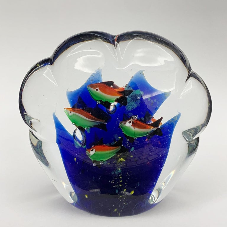Italian Paperweight Sculpture for Aquarium in White, Blue, Red and Green Murano Glass For Sale
