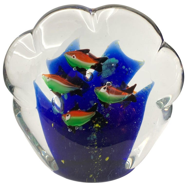 Paperweight Sculpture for Aquarium in White, Blue, Red and Green Murano Glass For Sale