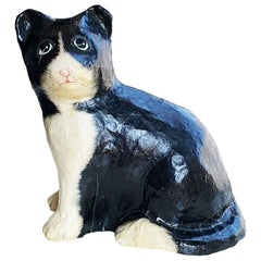 Papier Mâché Cat Sculpture in Black and White