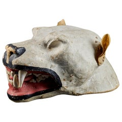 Papier Maché Lion's Head with Real Teeth for Taxidermy Use