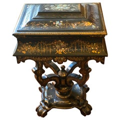 Papier Mache Pearl Inlaid Writing Side Table, 19th Century