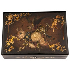 Papier Mâché Sewing Box Velvet Lined Mother-of-Pearl, 19th Century