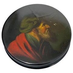 Papier-mâché Snuffbox, Painted with a Portrait of a Bearded Man