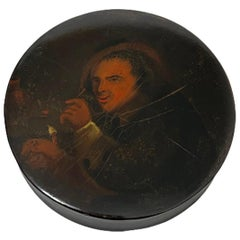 Papier-mâché Snuffbox, Painted with a Portrait of a Smoking Man