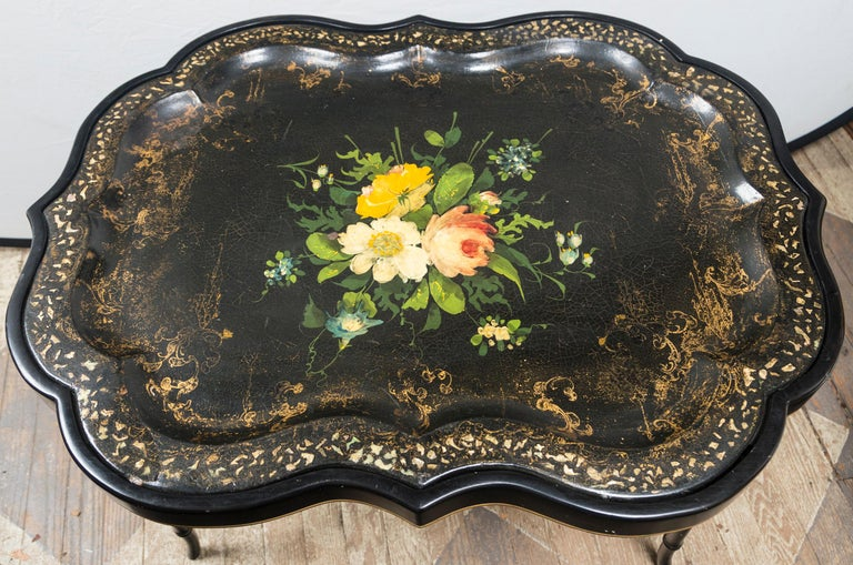 Victorian Papier Mâché Tray on Stand For Sale