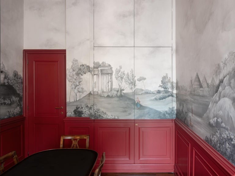 Papier Peints, Hand Painted Wallpaper In New Condition For Sale In Milan, IT