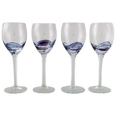 Papillon / Casa Grande, Tiffany, Four Mouth-Blown Wine Glasses, 1980s