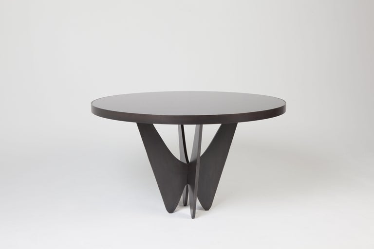 American Papillon Metal and Glass Round Dining Table by Soraya Osorio For Sale