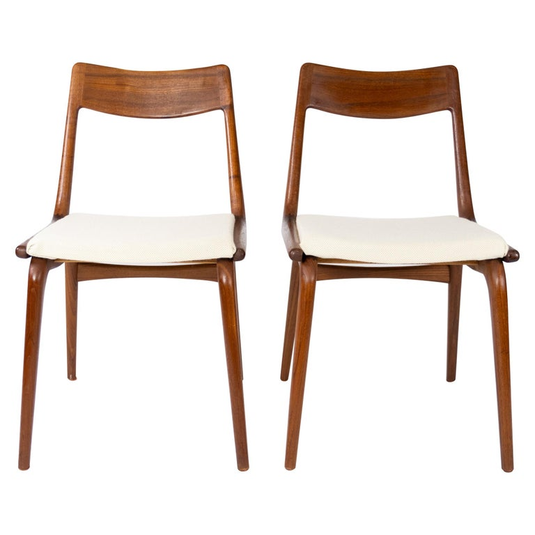 Papir of Dining Chairs, Model Boomerang, by Alfred Christensen, 1960s For Sale